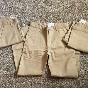 NWOT Boys Old Navy Set of 3 Khaki Pants Sz 8